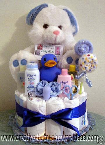 white and blue bunny diaper cake