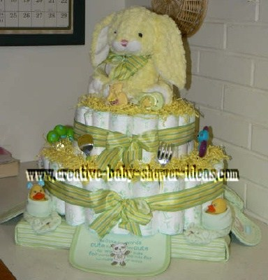 yellow striped bunny diaper cake
