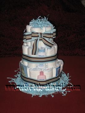 mod blue and tan stripes diaper cake