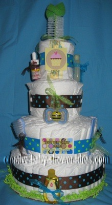 green blue and brown polka dots diaper cake