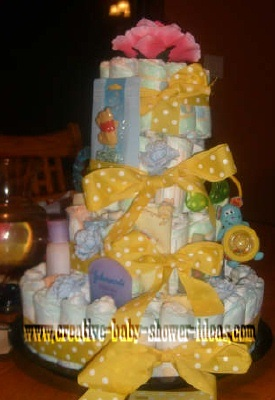 yellow polka dot diaper cake