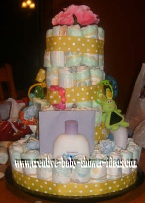 pink flowers and polka dot ribbon diaper cake