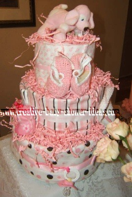 pink stripes and dots diaper cake