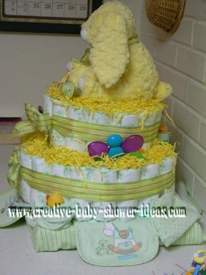 side of yellow bunny diaper cake