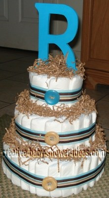 blue and tan stripes and buttons diaper cake with letter R
