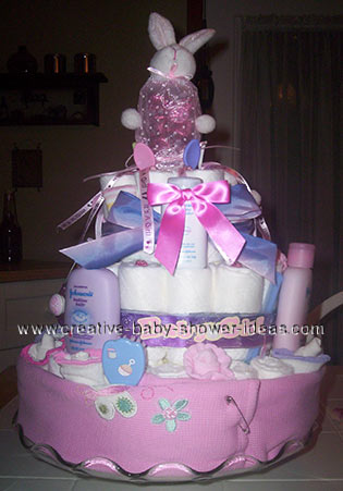 pink bunny and blanket diaper cake
