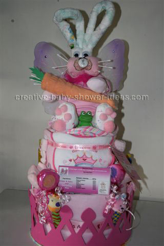 diaper bunny with carrot on a diaper cake