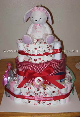 red and white bunny diaper cake