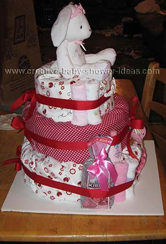 other side of red and white bunny diaper cake