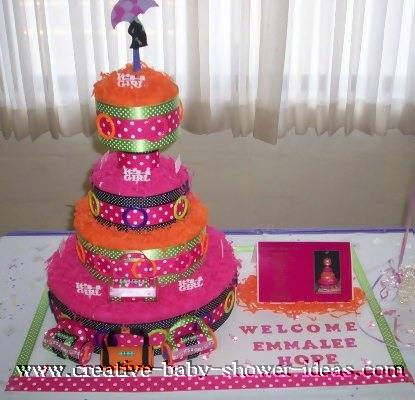 mod pink and orange polka dot diaper cake