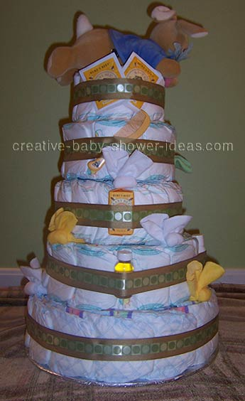 back of peter rabbit diaper cake showing baby supplies