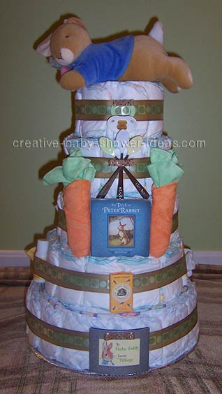 peter rabbit diaper cake with story book