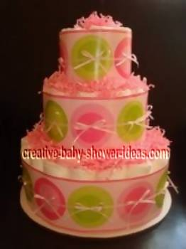 pink retro dots diaper cake