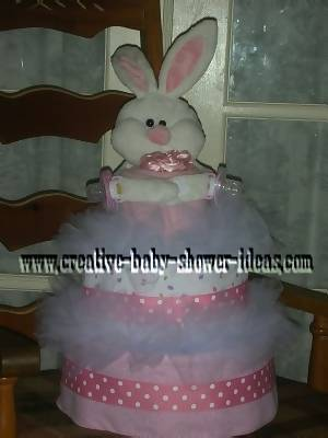 pink and white tutu bunny diaper cake