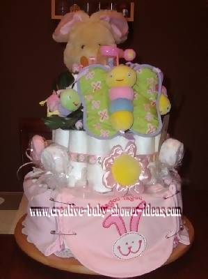 bunny and butterflies diaper cake
