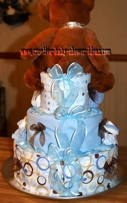 back or blue and brown dots diaper cake