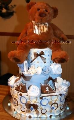 mod blue and brown dots diaper cake