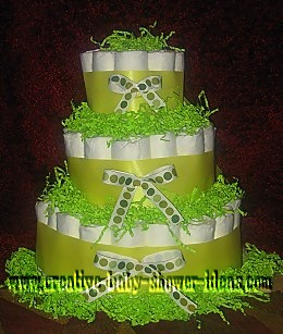 lime green polka dot diaper cake