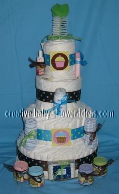 sweet cupcakes polka dot diaper cake