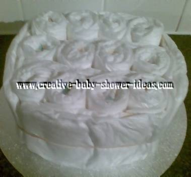 diaper cake wrapped in nappies