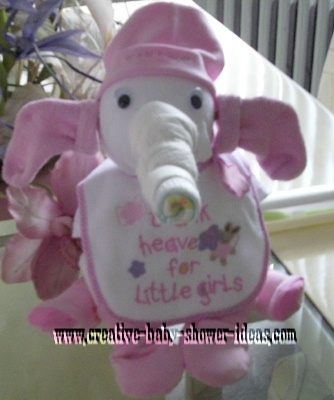 pink and white diaper elephant