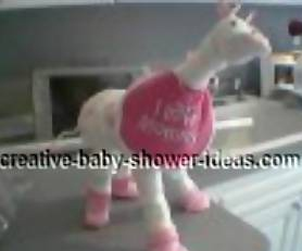 pink and white diaper giraffe