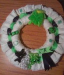 lime green and black diaper wreath