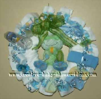 green and blue frog diaper wreath