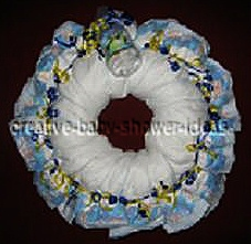 blue and yellow diaper wreath