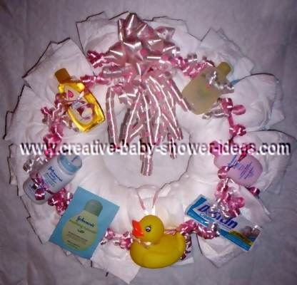 pink diaper wreath