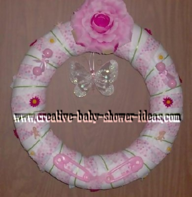 pink and white butterfly diaper wreath
