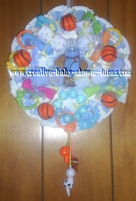 basketball sports diaper wreath
