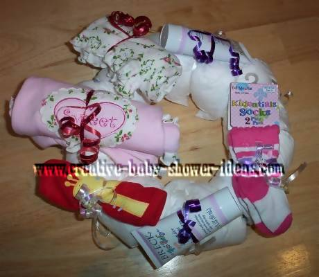 baby clothing diaper wreath