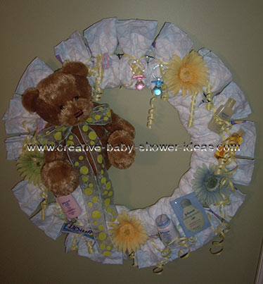 brown and cream bear diaper wreath