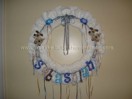 blue letters dog diaper wreath