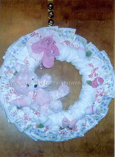 pink teddy bear diaper wreath