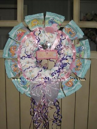 purple sesame street diaper wreath