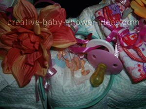 closeup of baby diaper wreath