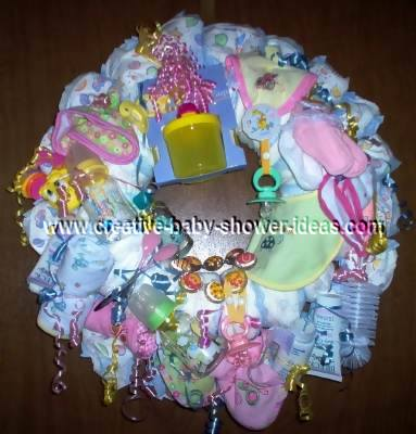 pink and yellow diaper wreath