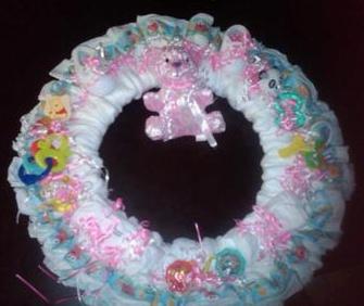 closeup of pink bear diaper wreath