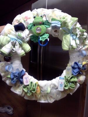 green frog diaper wreath