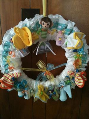 monkey diaper wreath