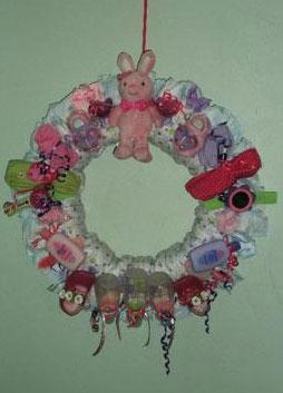 pink bunny diaper wreath