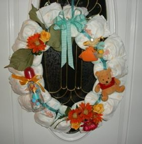 winnie the pooh orange flower diaper wreath