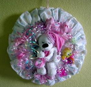 white and purple sleepy bear diaper wreath