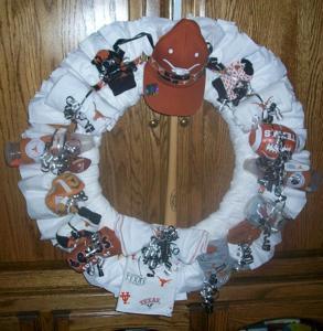 texas longhorn football diaper wreath