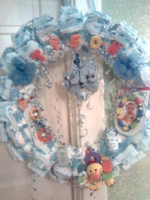 blue baby boy tyson letters diaper wreath