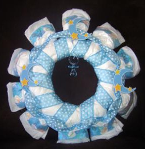 polka dot moon and stars diaper wreath