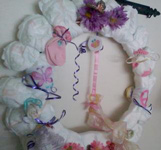 purple flowers diaper wreath