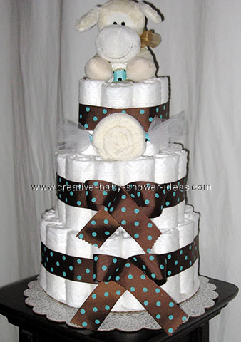 cream dog baby shower diaper cake